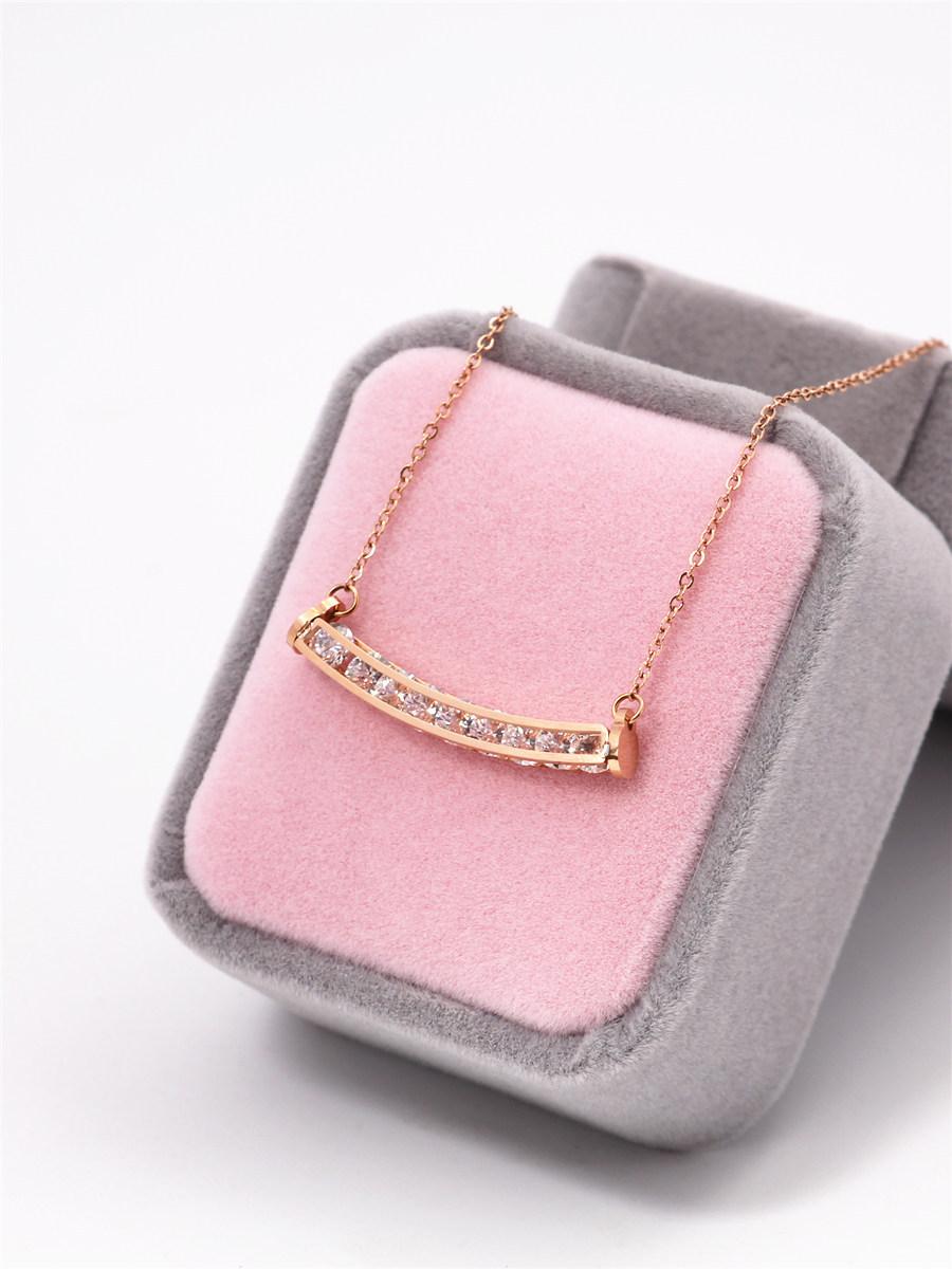 Simple Titanium steel plating Titanium steel necklace (Rose gold)NHIM0916-Rose gold