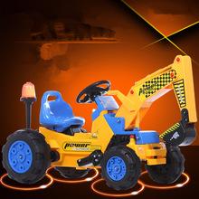 儿童电动挖掘机可坐可骑大号工程车老挖机四轮推土玩具车