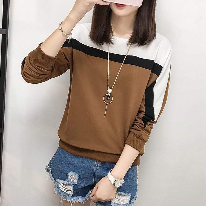 2017新冬新款韩版女装 加绒加厚圆领打底衫 拼色大码蝙蝠袖T恤