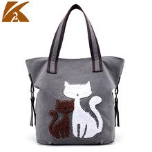 新款帆布包女包韩版潮简约单肩包可爱猫咪时尚休闲百搭手提大包