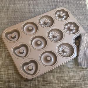 甜甜圈模具12连四花甜甜圈蛋糕模具 兮甲造碳钢模具烘焙模具