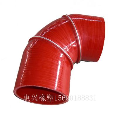 汽车硅胶管带钢箍红色夹布硅胶弯管耐油抗老化汽车专用硅胶管件