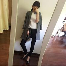 韩版时尚小西服七分袖女士小西装百搭显瘦中长款修身风衣外套女潮