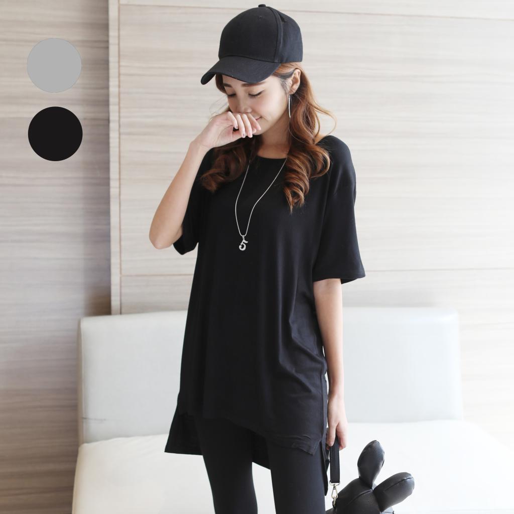 2017春夏女中长款T恤莫代尔短袖打底衫大码宽松体恤欧美风显瘦潮T