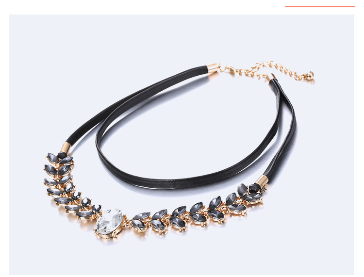 Alloy Fashion Geometric necklace  (Alloy + Black) NHTF0077-Alloy-Black
