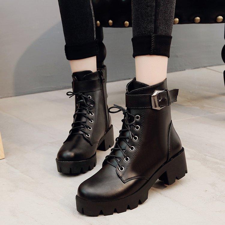 2017秋冬新款短靴皮带扣厚底系带马丁靴女英伦风学生粗跟靴子批发