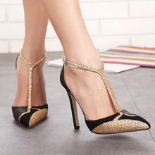 跨境外贸heels速卖通新款T字带拼色时尚水钻女式尖头细跟高跟单鞋