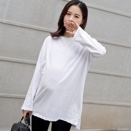 Spring new maternity wear hole maternity T-shirt medium and long loose large size soling fashion