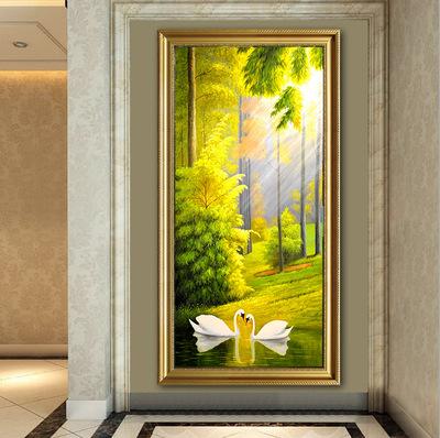 聚宝盆欧式美式油画有框玄关竖版挂画客厅装饰画书房餐厅壁画墙画