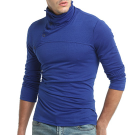 New men's solid color turtleneck shirt British wind simple slim long-sleeved T-shirt bottoming shirt