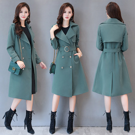 19 new fattened and enlarged spring dress women's coat fat mm medium and long style skinny windbreaker coat women's wear 1899