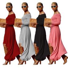 現貨 WY6397 飄逸流仙裙 歐美時尚性感露肩大裙擺長袖連衣長裙