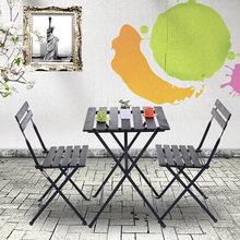 廠家直銷戶外休閑桌椅組合防腐防曬陽臺折疊桌椅三件套咖啡店餐桌
