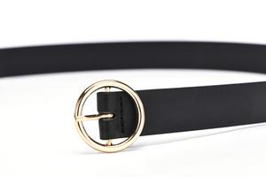 ខ្សែក្រវ៉ាត់នារី Women Casual Round Pin Buckle Head Leather Belt PZ283609