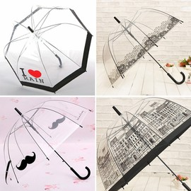 Building super arched Apollo Princess transparent umbrella umbrella semi-automatic creative hook straight straight umbrella