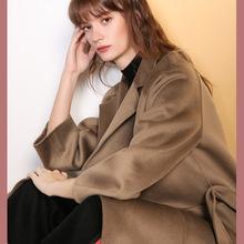 M家同款50%羊绒大衣女双面高端长款系带宽松下摆开叉加厚毛呢外套