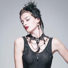 厂家直销 新款女士个性时尚潮人 哥特贵族GOTHIC珠串羽毛颈环项链