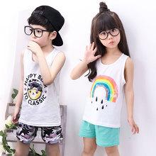 夏季新款休闲儿童背心套装潮款纯棉背心套装男女童韩版厂家直销