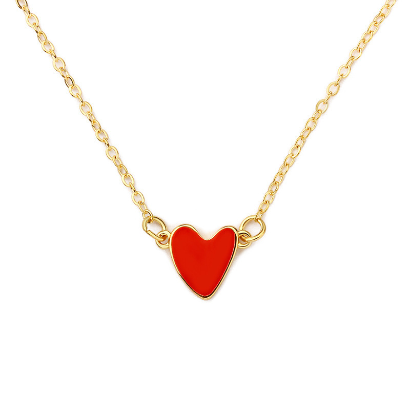 Korean Red Love Necklace Dripping Double Peach Heart Necklace Clavicle Chain Heart Necklace Wholesale NHCU192653