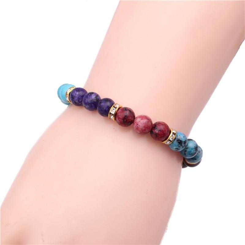 Colorful Chakra Stone Bracelet Bracelet Natural Colorful Chakra Energy Yoga Volcanic Stone Bracelet NHYL173441
