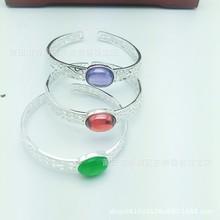 足银S990纯银镶红宝石绿宝石民族风手镯送闺蜜送妈妈花纹厂家直销