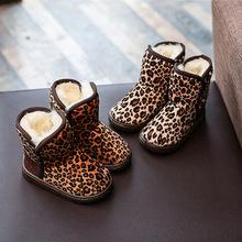 2017冬季新款女童豹纹小童靴男童加绒加厚宝宝保暖棉鞋儿童雪地靴