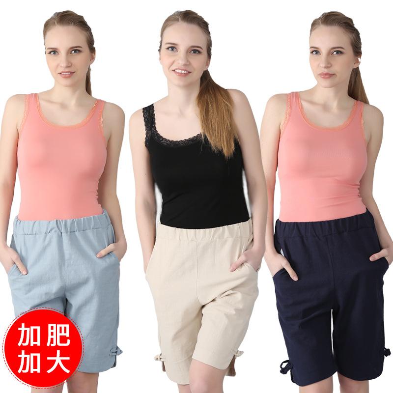 2020夏季新款女式加肥加大码宽松舒适高端棉麻休闲短裤半裤五分裤