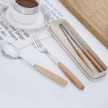 日式原木不锈钢餐具木柄勺子叉子筷子便携三件套礼品赠品餐具套装