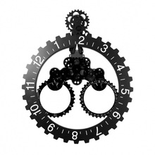 妙刻创意三角大挂齿轮钟客厅家居简约欧式机械齿轮挂钟厂家直销