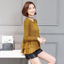 2017春裝新款女裝潮蕾絲打底衫女長袖中長款針織顯瘦女式上衣小衫