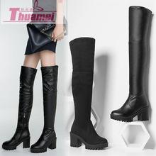 外贸款欧美新款瘦腿包腿厚底防水台圆头过膝弹力长靴子女厂家