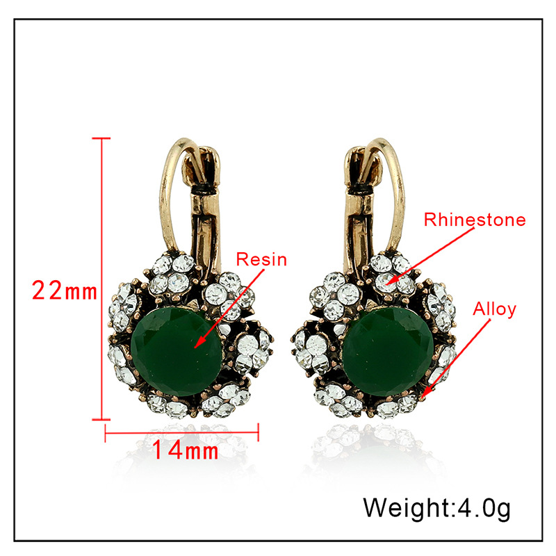 Color protection gold white diamond color diamond resin earrings earrings female jewelry NHKQ175962