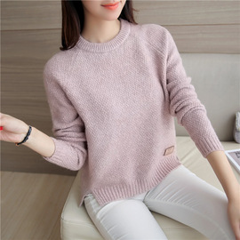 New pure-color bottom knitted sweater for spring wear, long sleeve loose top, round collar sweater and women's tie-up sweater