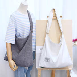韩国文艺帆布袋潮女简约大容量手提单肩斜跨大学生百搭复古帆布包
