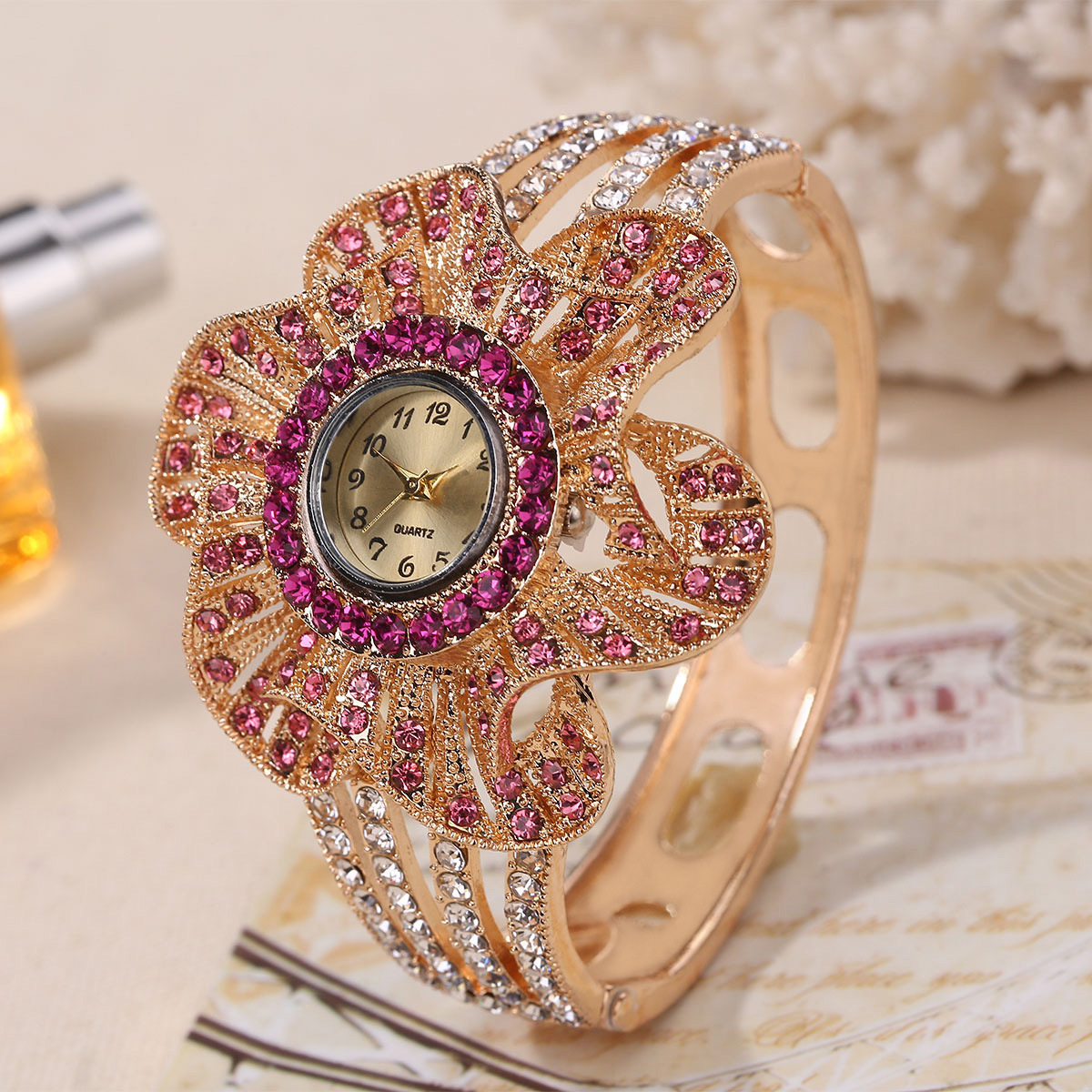 Watch flower watch diamond watch ladies alloy quartz watch NHHK203873