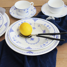 丹麦唐草北欧陶瓷圆盘创意家用托盘餐盘菜盘汤盘沙拉水果盘意面盘