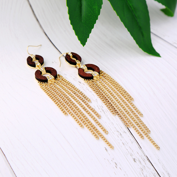 Fashion Alloy Rhinestone earring Tassel (Alloy)  NHQD4249-Alloy