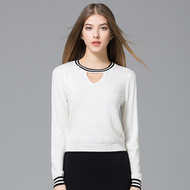 Ma la ka luo Spring European And American Women V-neck Color Block Slim-Fit Women Jumpers White Bottoming Sweater Female