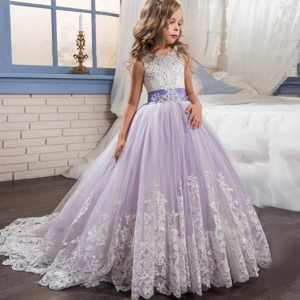 欧美新款童装儿童蕾丝婚纱长裙蓬蓬裙公主裙花童礼服女童生日钢琴