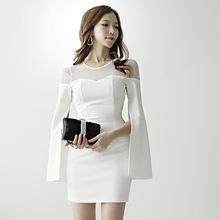2019春季新款韩版修身蕾丝拼接时尚个性长袖职业包臀连衣裙女潮