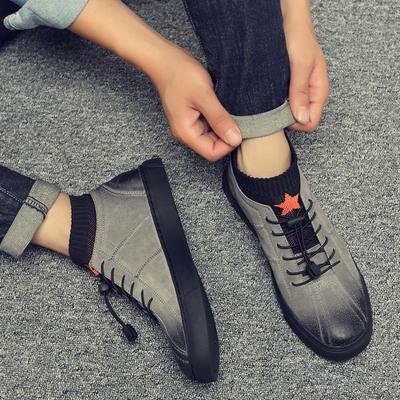 马丁靴男秋季新款百搭休闲工装男鞋复古时尚真皮短靴高帮潮流鞋子