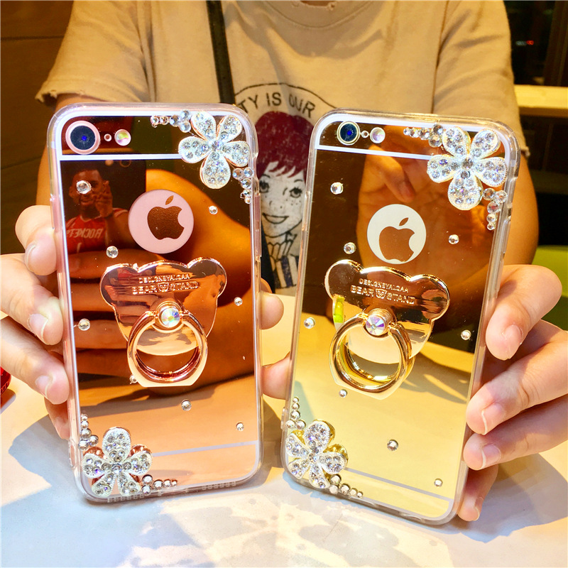 Diamond crystal silver flower for iPhoneXR bear stand Apple 8plus plated mirror phone case NOTE9
