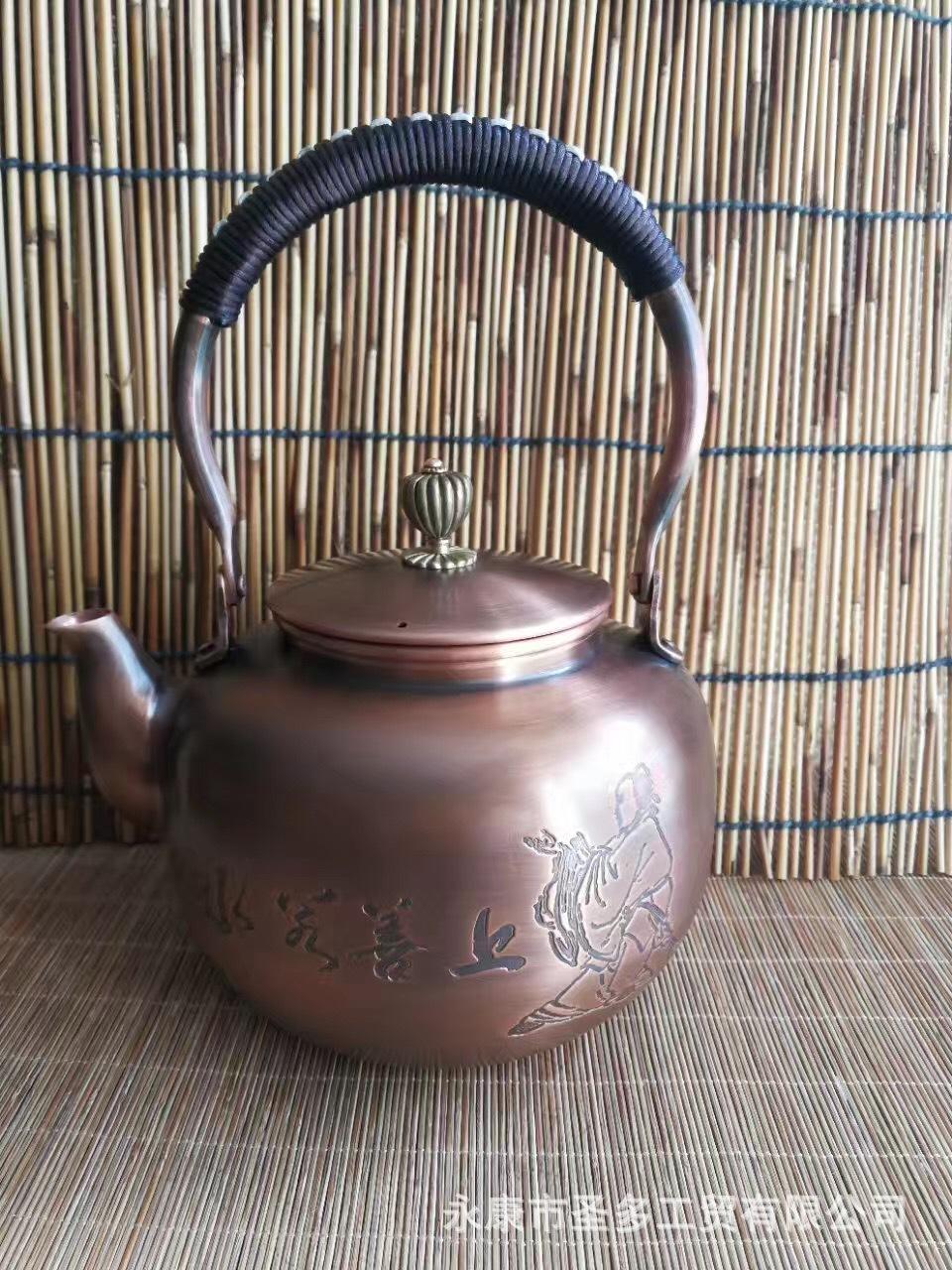 厂家批发纯手工铜壶烧水壶仿日本南部老铜茶壶养生功夫铜壶
