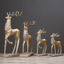 情侣鹿欧式客厅酒柜隔断柜装饰品摆件样板房创意麋鹿结婚礼物实用