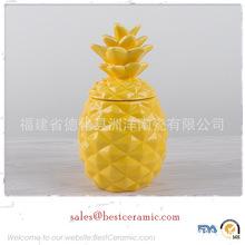 个性时尚陶瓷动物储物罐 简约现代陶瓷菠萝密封罐 菠萝色釉饼干罐