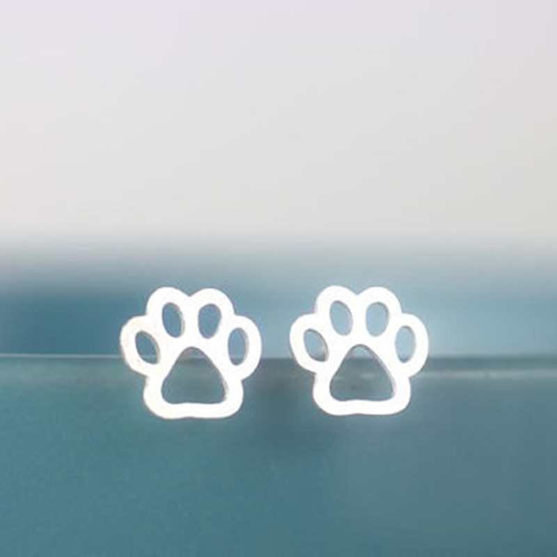 New fashion animal cat dog footprints ears earrings hollow cat claw dog claw earrings wholesale NHCU206478