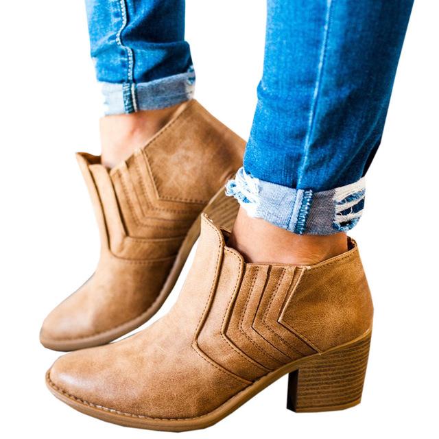 2017年外贸大码新款中跟短靴女鞋欧美复古wish爆款靴子裸靴