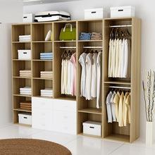 新款热销衣柜衣帽间卧室实木组柜子 厂家定制无门家庭组装柜衣橱