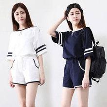 17韩版爆款夏季少女睡衣短袖短裤时尚可外穿休闲居家套装睡衣薄款