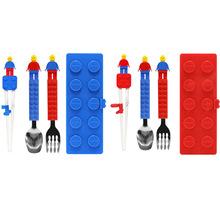 授权代理韩国OXFORD积木餐具四件套儿童学习筷子勺叉套装蓝红